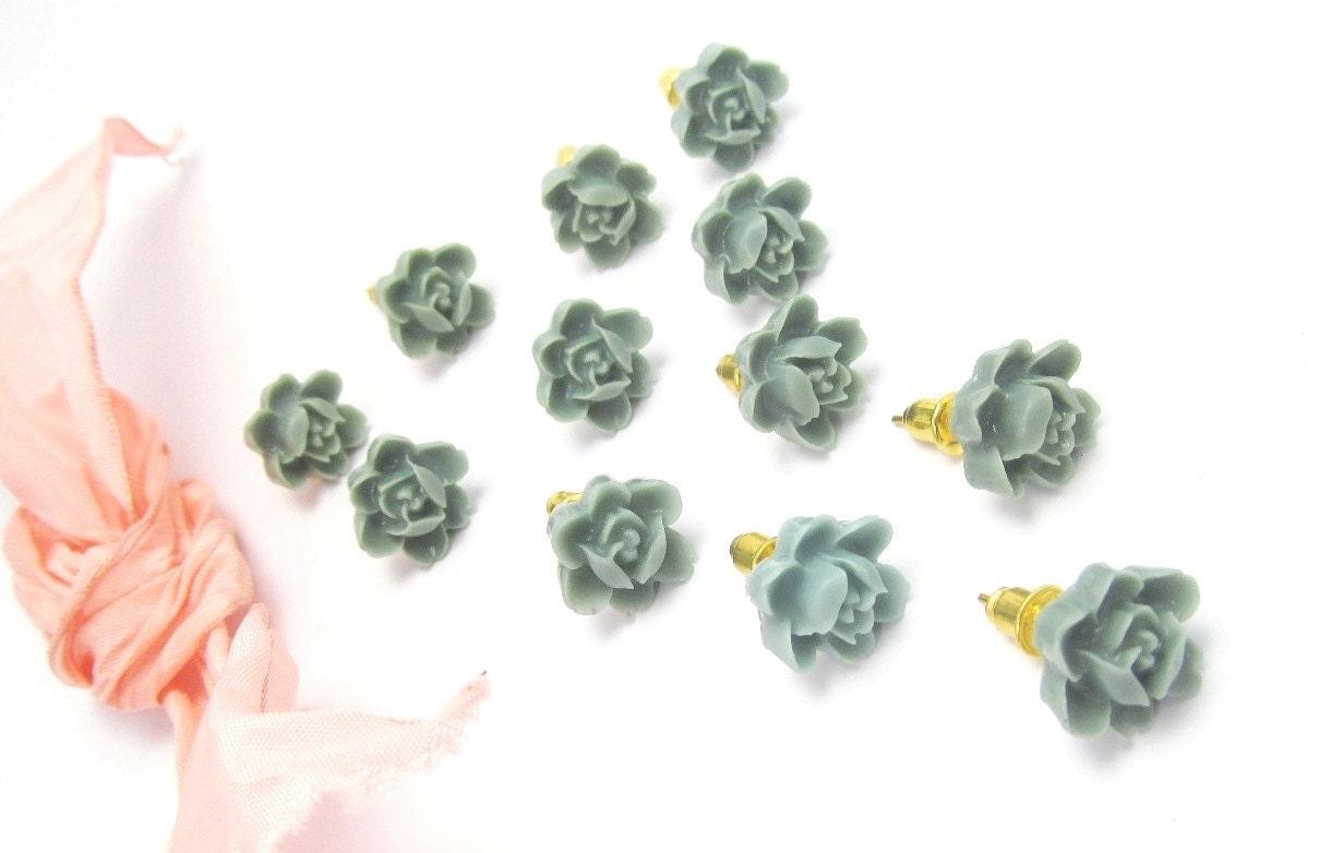 SIX PAIRS greenish blue Lilly Foral Posts Earrings 60 Dollars-Feminine Pretty- weddings, bridal party - 4TasteofShabbyChic