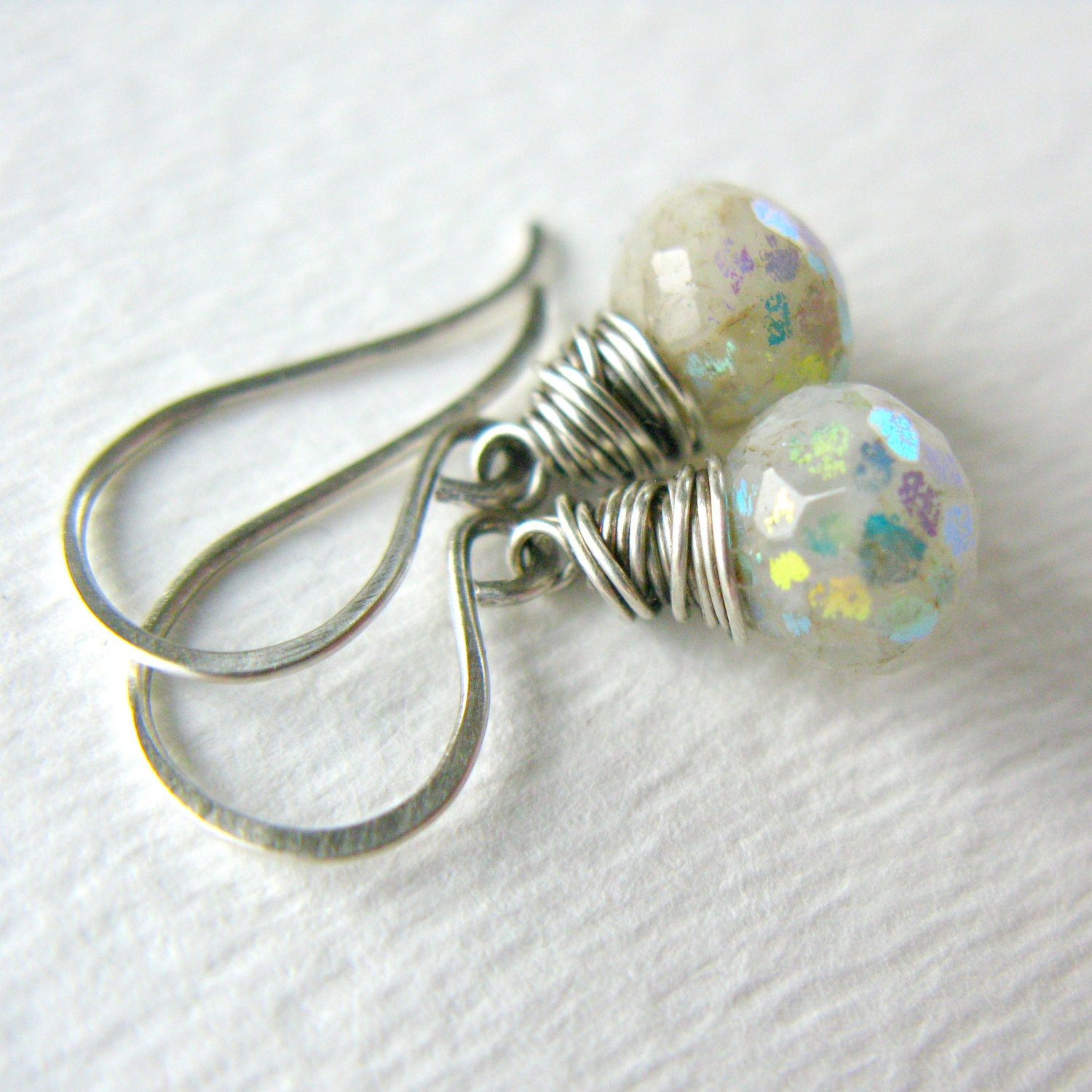 Aquamarine Silver Earrings AB Rainbow Oxidized Sterling Silver Wire Wrapped ..... Spring Showers ..... - SugarRococo