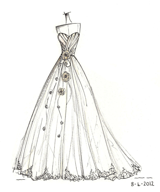 Wedding Dress Sketch Uk 16