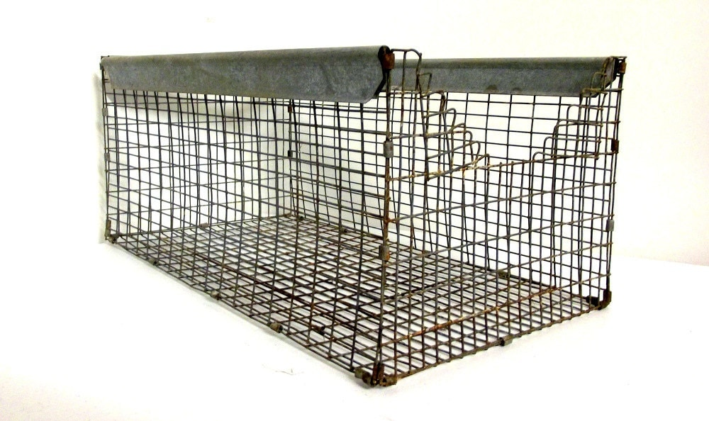 Vintage Industrial Wire Basket - Rusty Chic Home Decor - honeyblossomstudio