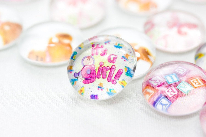35 SMALL Girl Baby Shower- Teddy Bear- Glass Gem Table Decorations