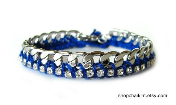 Petit Rhinestone Friendship Bracelet-COBALT BLUE.INDIGO- Shipping with tracking