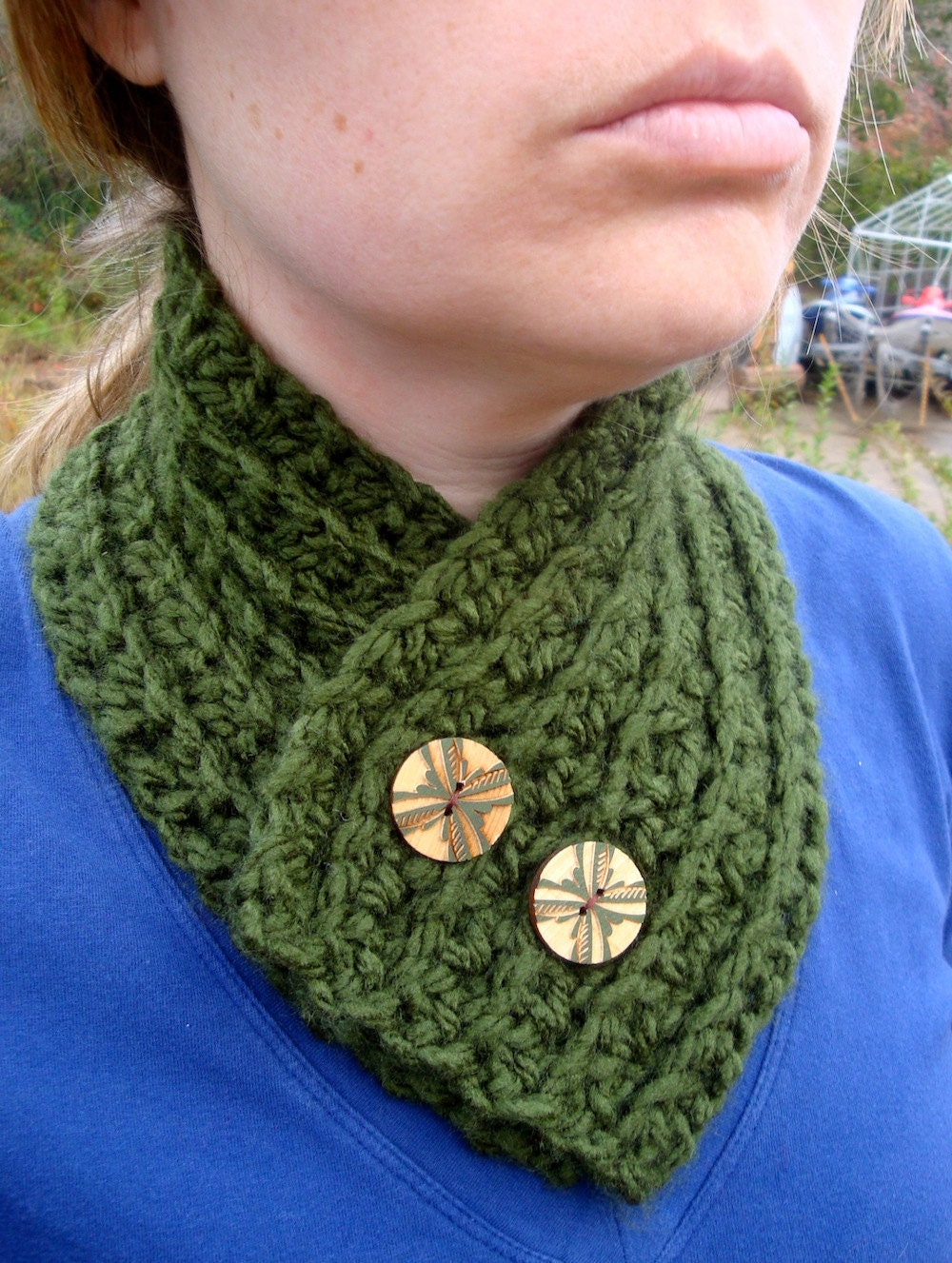 Crochet Cowl,Neck Warmer, in Moss Green