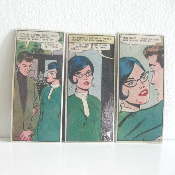 3 Vintage Magnets 1960s Romance Comic Magazine Illustrations - ismoyo