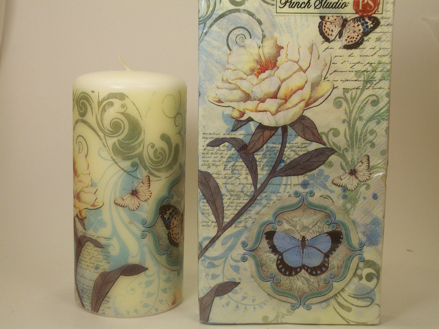 Hand Decorated Candle with Matching Napkins