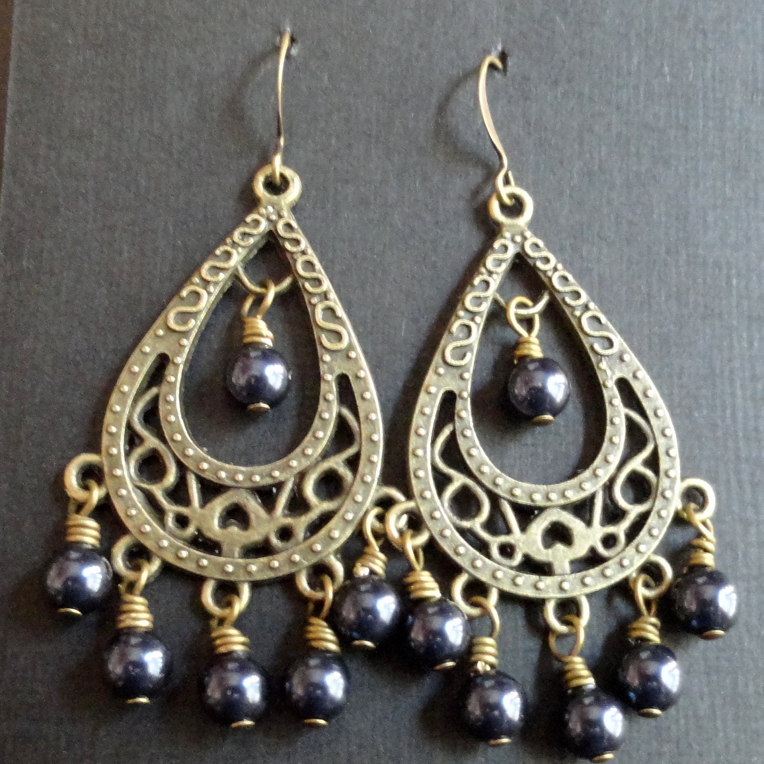 Wire Wrapped Earrings Blue Pearl and Antique Brass, Large Teardrop Chandelier Earrings