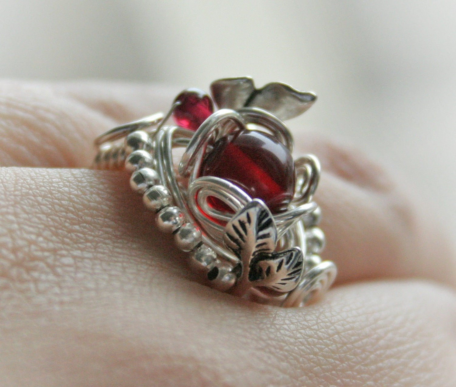 Bloody Forest - silver plated wire wrapped ring with cherry amber and garnet beads - bodzastudio