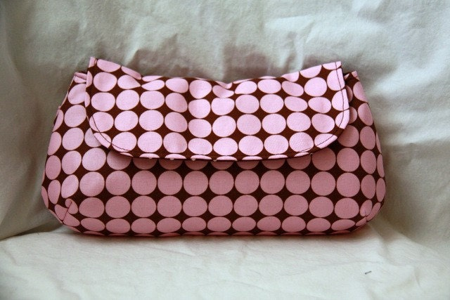 Pink and Brown Polka Dot Clutch - Free Shipping Etsy - Black Friday Etsy Cyber Monday Etsy