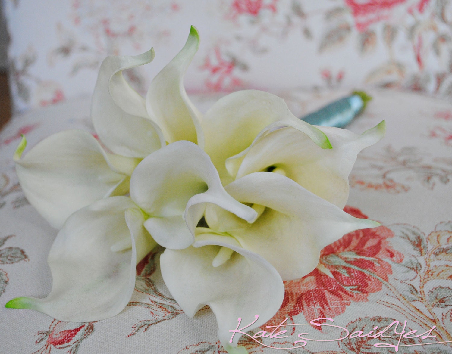 Tiffany Blue and Cream Calla Lily Real Touch Wedding Bouquet