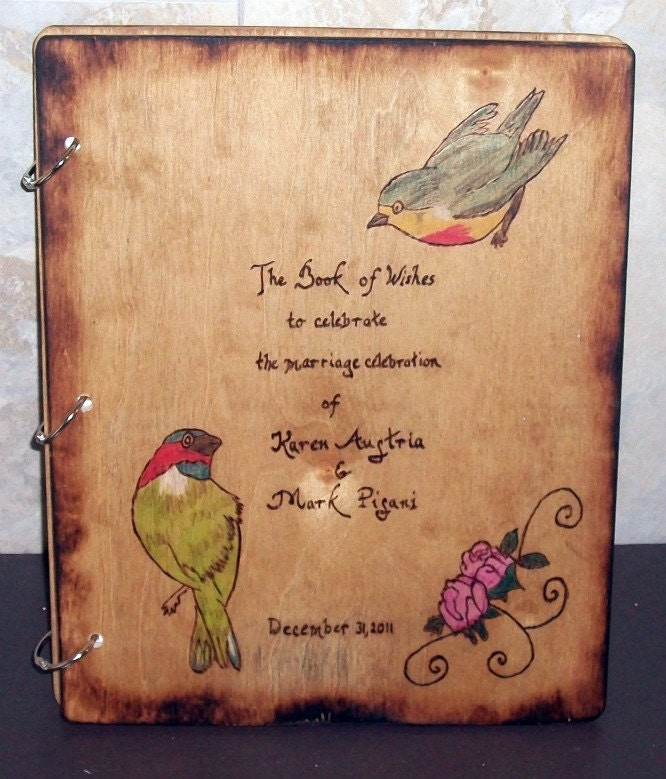 Wedding Guest Book Wood With Burned edges and Personalized Bird Design
