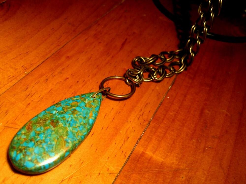 Brass Chain with Gemstone