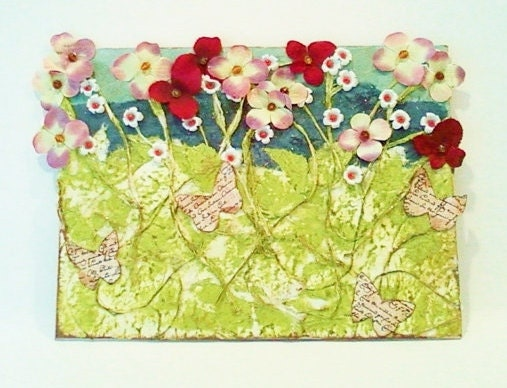 Floral Mixed Media Collage Art Pink and White Wildflowers and Butterflies - RobinsArtAndDesign