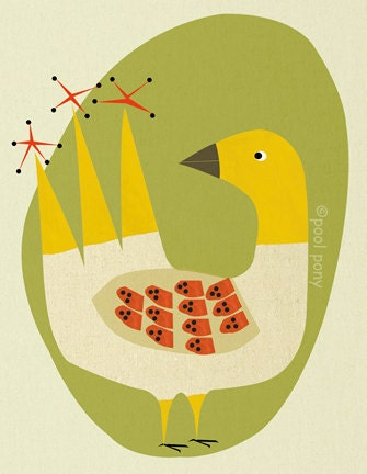 mid century inspired, art print, happy bird. small giclée print