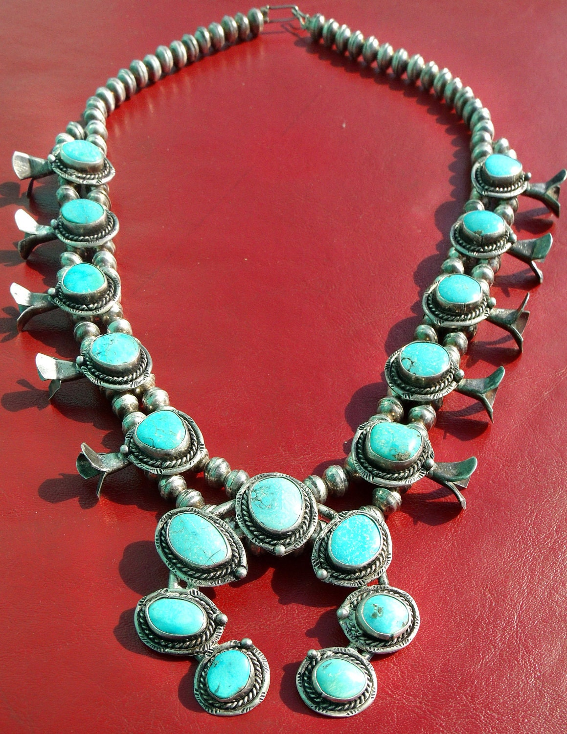 Our Awesome 1970 S Squash Blossom Turquoise And Sterling