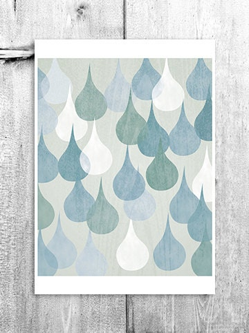 Abstract Rain Drops Wall Art Digital Print Home Decor Poster Neutral Decor Kitchen Bathroom Art Blue White Giclee Print - revigorer