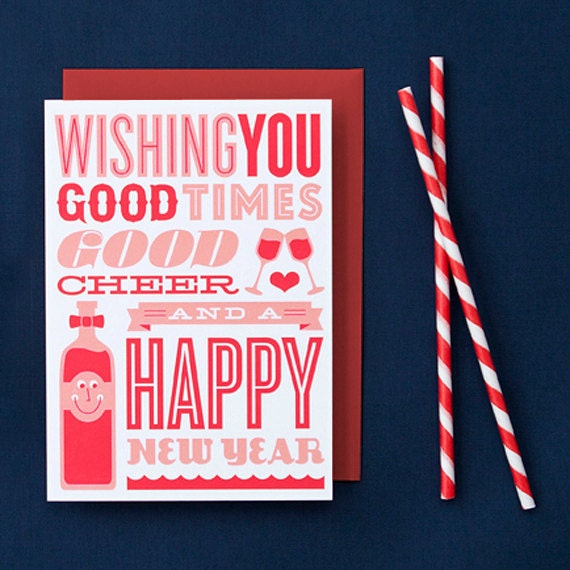 Letterpress Holiday Card Set - Set of 6 Good Cheer Cards