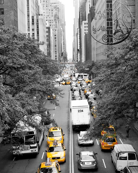 Yellow cab, New York Photography, Tudor City Yellow Cab, NYC art, black and white, New York urban decor, for teens, 8'x10', 8'x12'