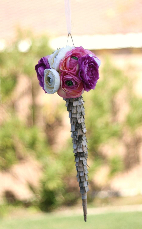 Лесной Сельский березовой коры дерева Цветочная композиция Конусы Букет Держатель
