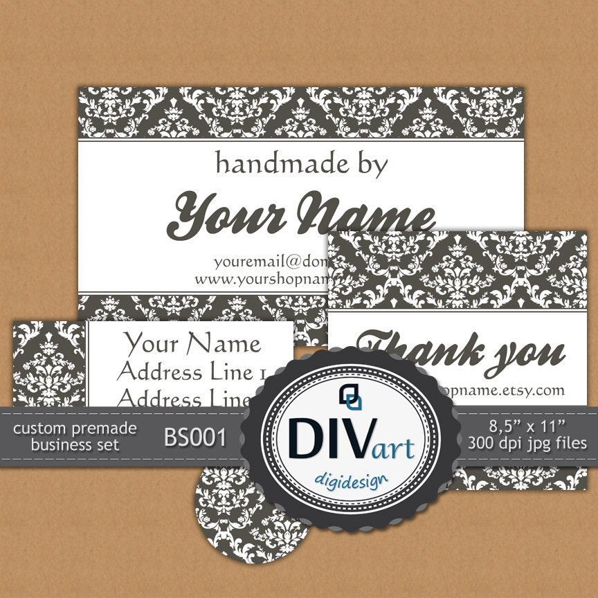 PRINTABLE Premade Damask Business Set - BS001 - Business cards, Thank you notes, Address labels, Stickers, not only for your Etsy Shop...