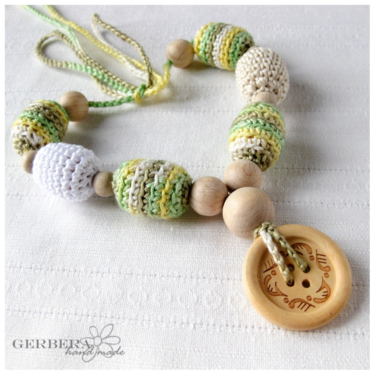 Nursing necklace/ Teething necklace for Mom to Wear and baby - soft green yellow white colors 100% cotton wood beads - RainbowGerbera