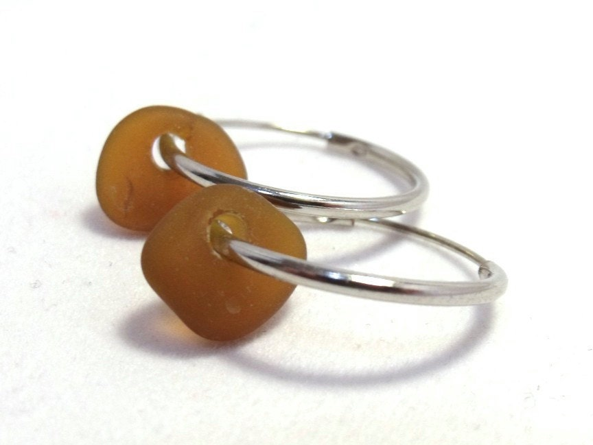 Sea Glass Hoop Earrings - Natural Maine Sea Glass in Honey Amber Brown
