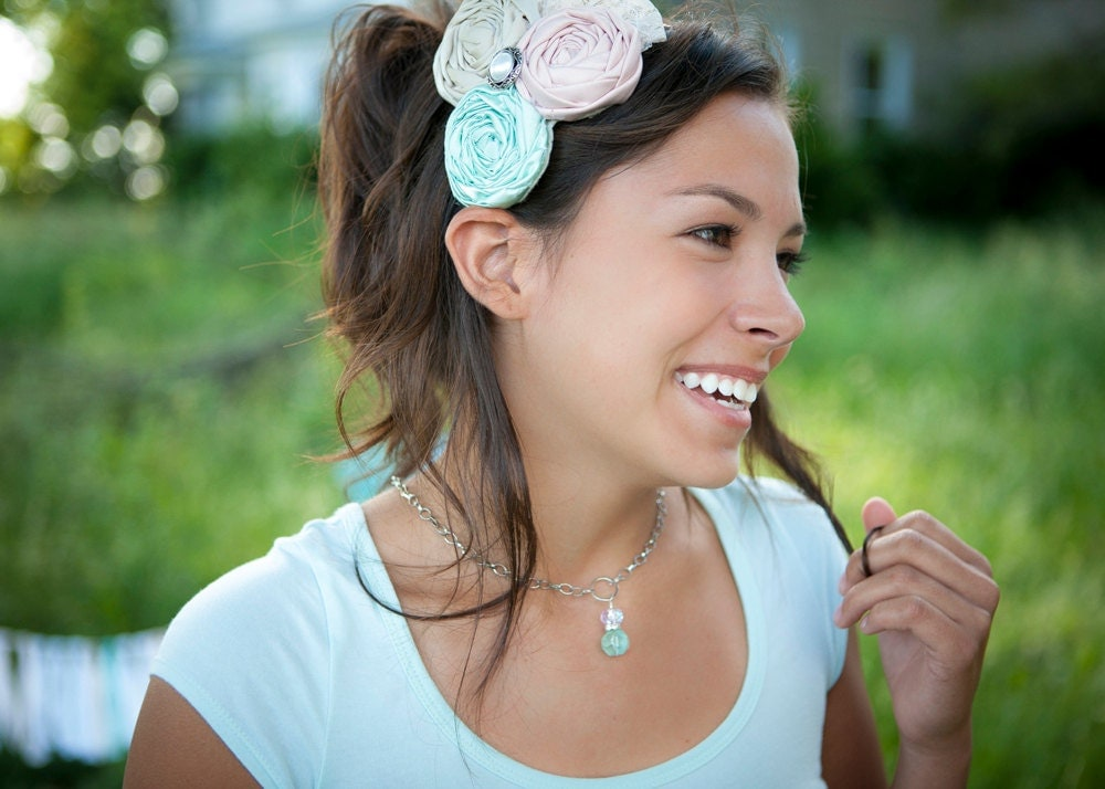 Feminine shades of soft pink, champagne and aqua headband Dream a little dream