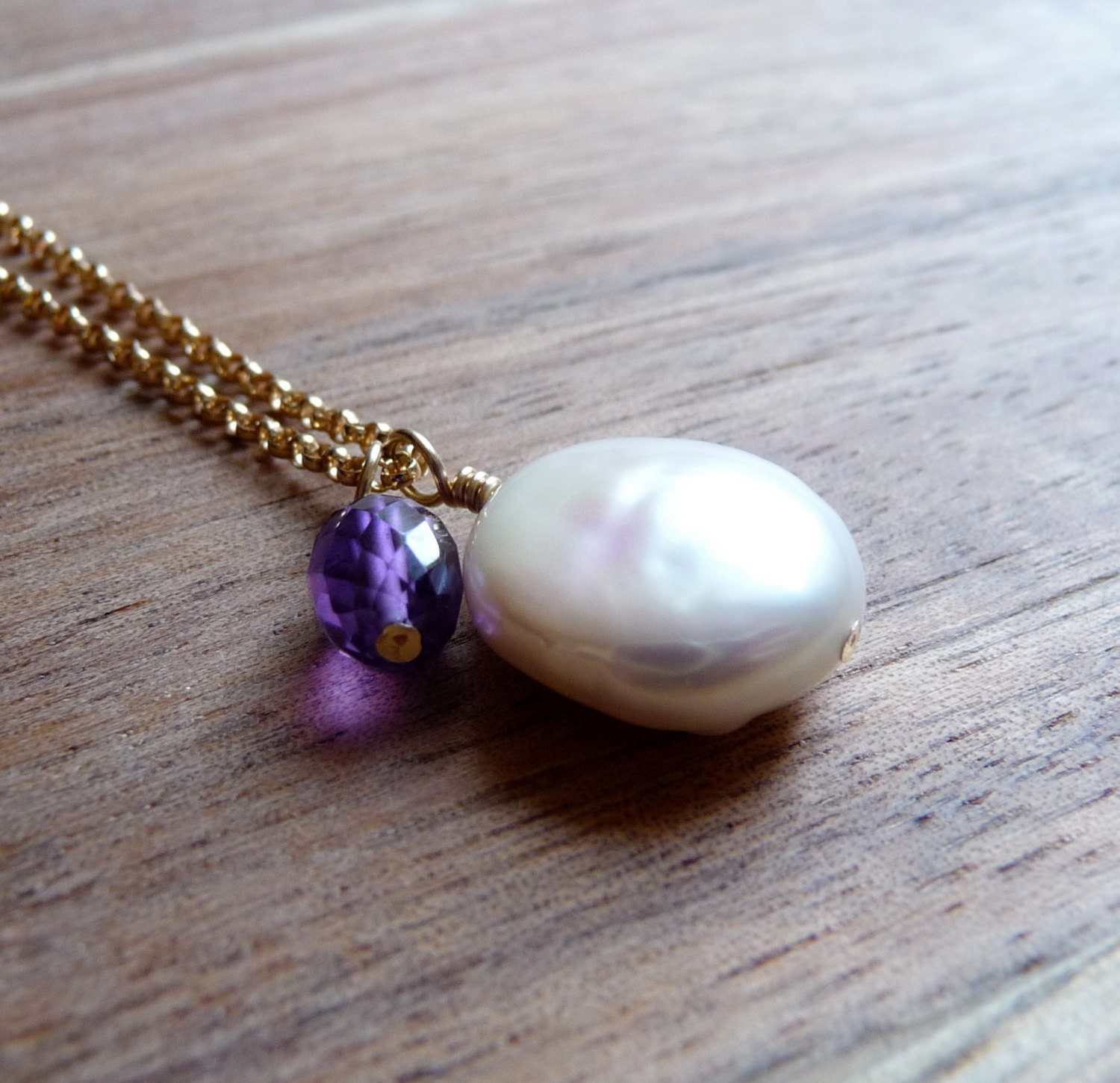 Pearl Necklace, Amethyst Necklace, Purple Amethyst Gemstone, Coin Pearl, February Birthstone, Minimal Jewelry, Gold Filled Chain Necklace - karinagracejewelry
