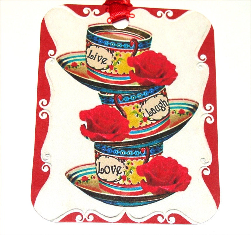 CO-409- Retro Stack Of Cups With Red Flowers Live Laugh Love Set of 6 Tags - SiriusFun