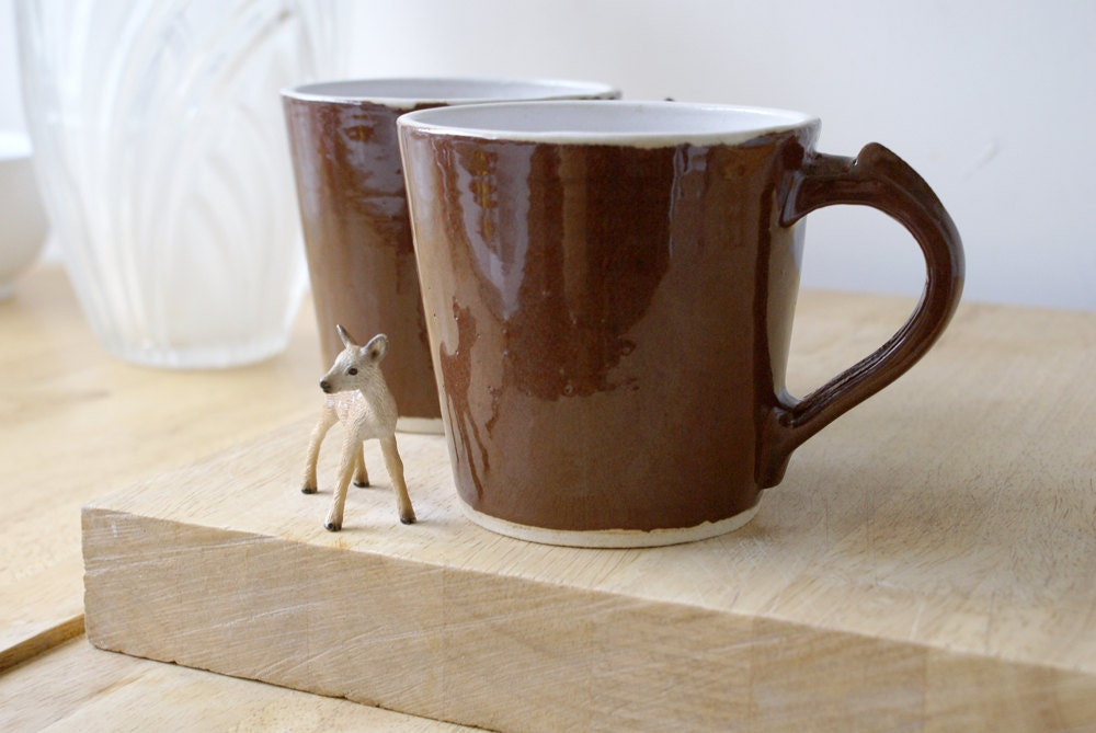 Two spicy chai latte mugs - stoneware pottery mugs glazed in milk chocolate - LittleWrenPottery