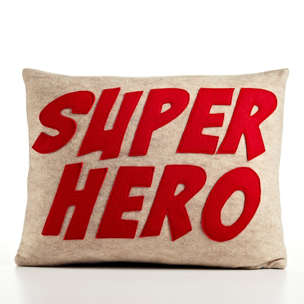 Super Hero- oatmeal red  recycled felt applique pillow 14x18