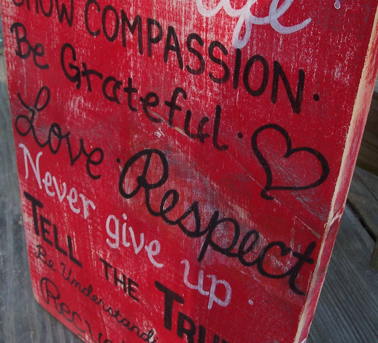 Family Rules SIGN Subway Custom Distressed primitive red Handmade Hand-painted Wooden 12x36 WHAGN