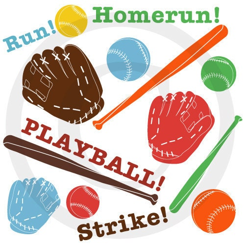 Baseball Clip Art for Scrapbooking, Making Birthday Invitations and Favors