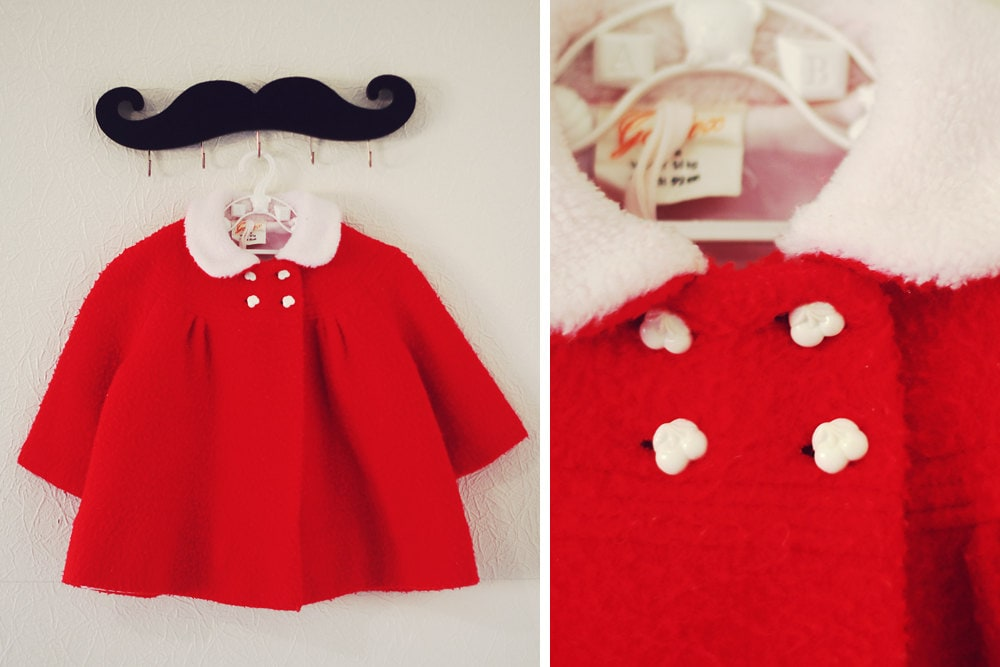 Vintage 1950s Cherry Peter Pan Collared Toddler Coat. - tuesdaymoonvintage