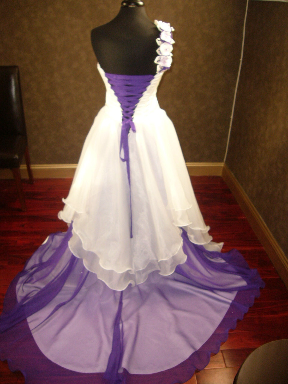 Corset Fantasy Wedding Dress in Ivory and Purple