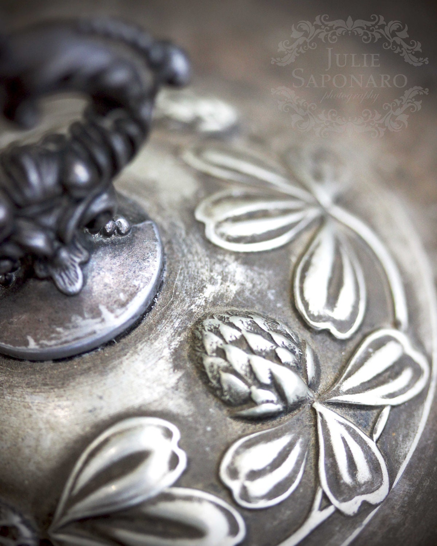 Clover - 8x10 Original Fine Art Photograph (kitchen decor, cast iron, floral, culinary, cooking, grey) - JulieSaponaroPhoto