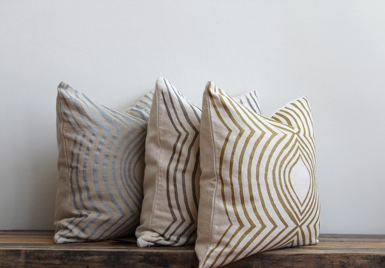 metallic silver & off-white handprinted organic hemp pillow cover 20 x 20