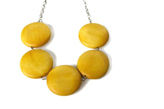 Mustard Yellow Round Chunky Bead Necklace. Big Round Wood Beads.