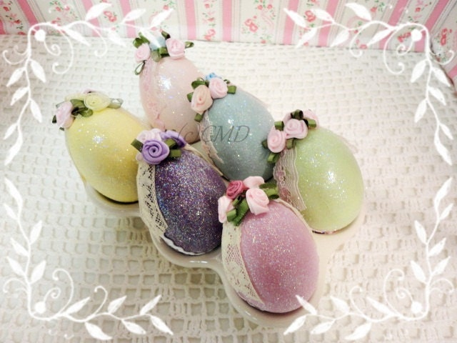 Half Dozen Colored Faux Easter Eggs, Hand Painted and Decorated in Display Dish, ECS, CSST