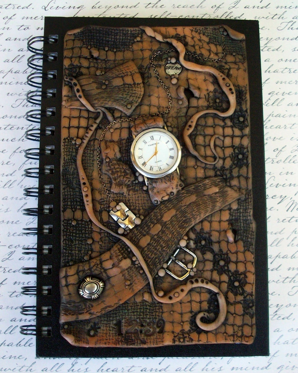 Time Stands Still Polymer Clay Journal Cover by MandarinMoon.etsy.com