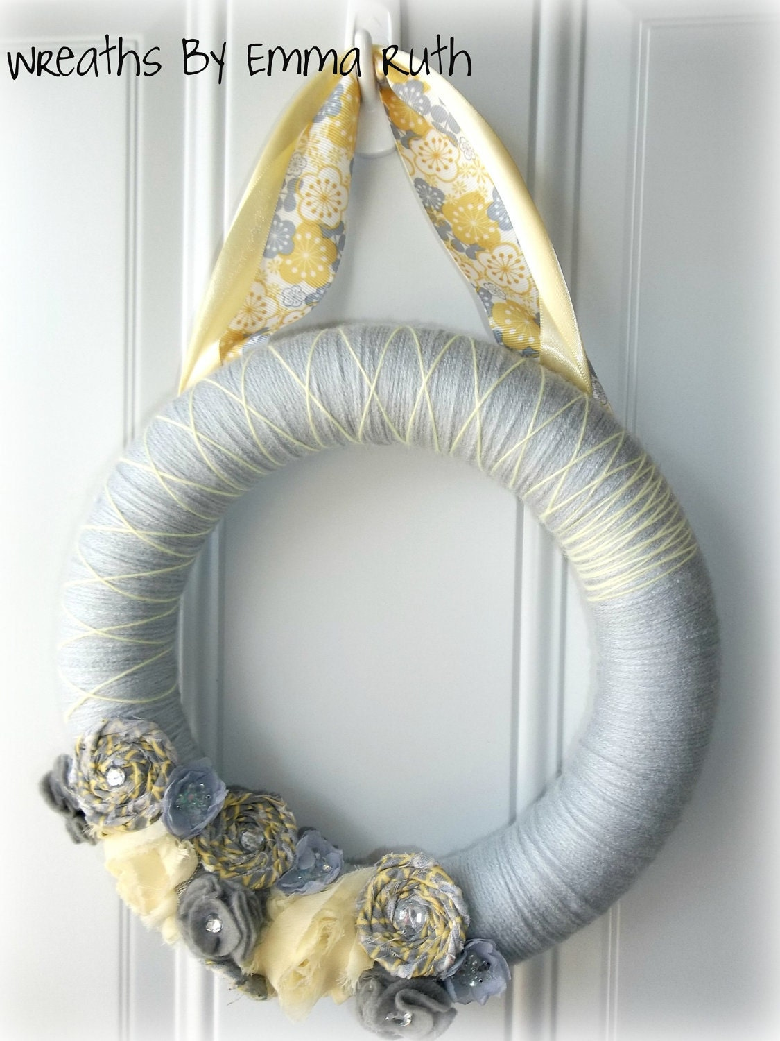 Yellow & Gray Yarn Wreath