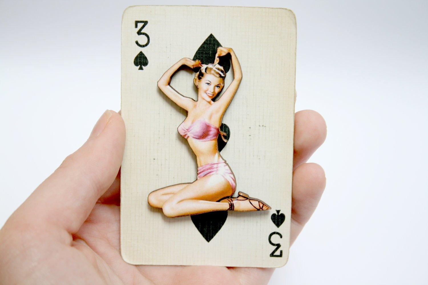 Pin Up Girl Wooden Brooch