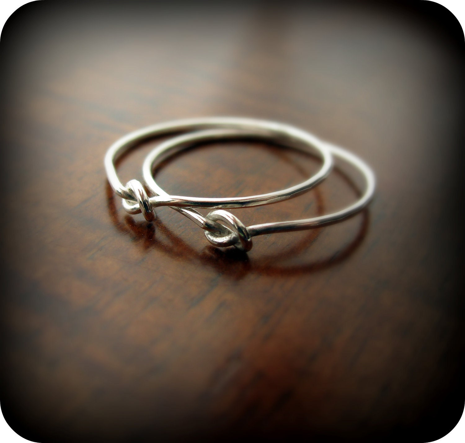 Friendship knot rings - best friends sterling silver rings
