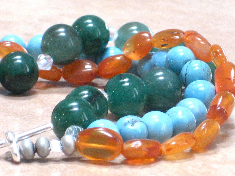 Chunky Bracelet, Turquoise Green Orange Fall Bracelet Harvest Triple Strand Multicolor Bracelet - Falling - CCARIA