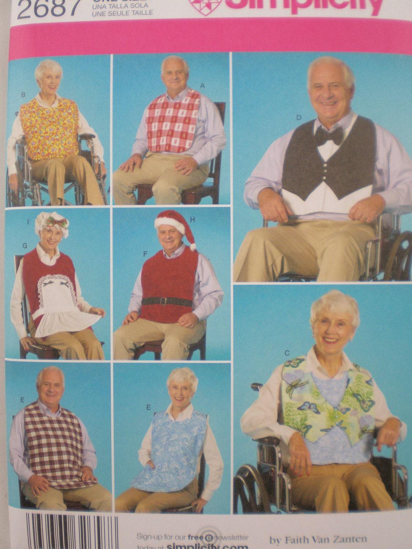 Simplicity 2687 Adult Bib Wheelchair Hat Santa Pattern Adult BIB Clothing ...