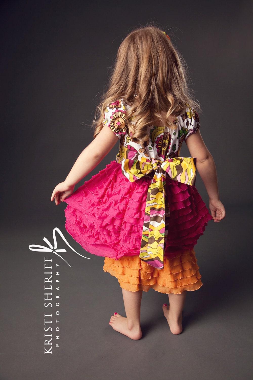لولا Posie قبل از تاه کردن لباس بهار با M2M اندازه شیرازه 2T-12years