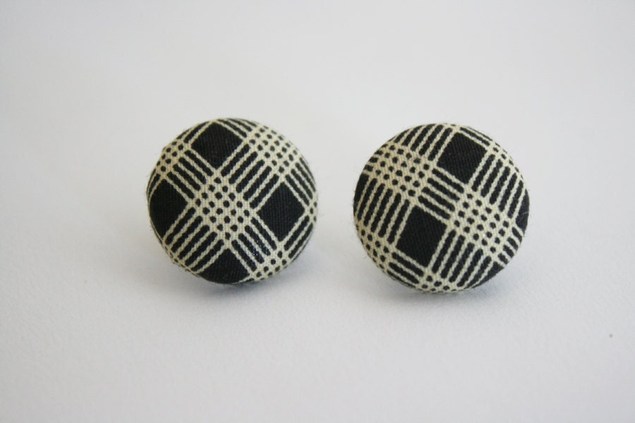 Brown & Cream Plaid --- hypoallergenic fabric button earrings
