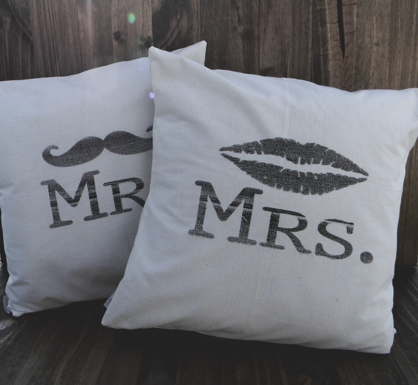 Mr. & Mrs. Set of Two 16 x 16 Pillow Covers, house warming, newlywed gift, engagement gift, wedding gift, couple