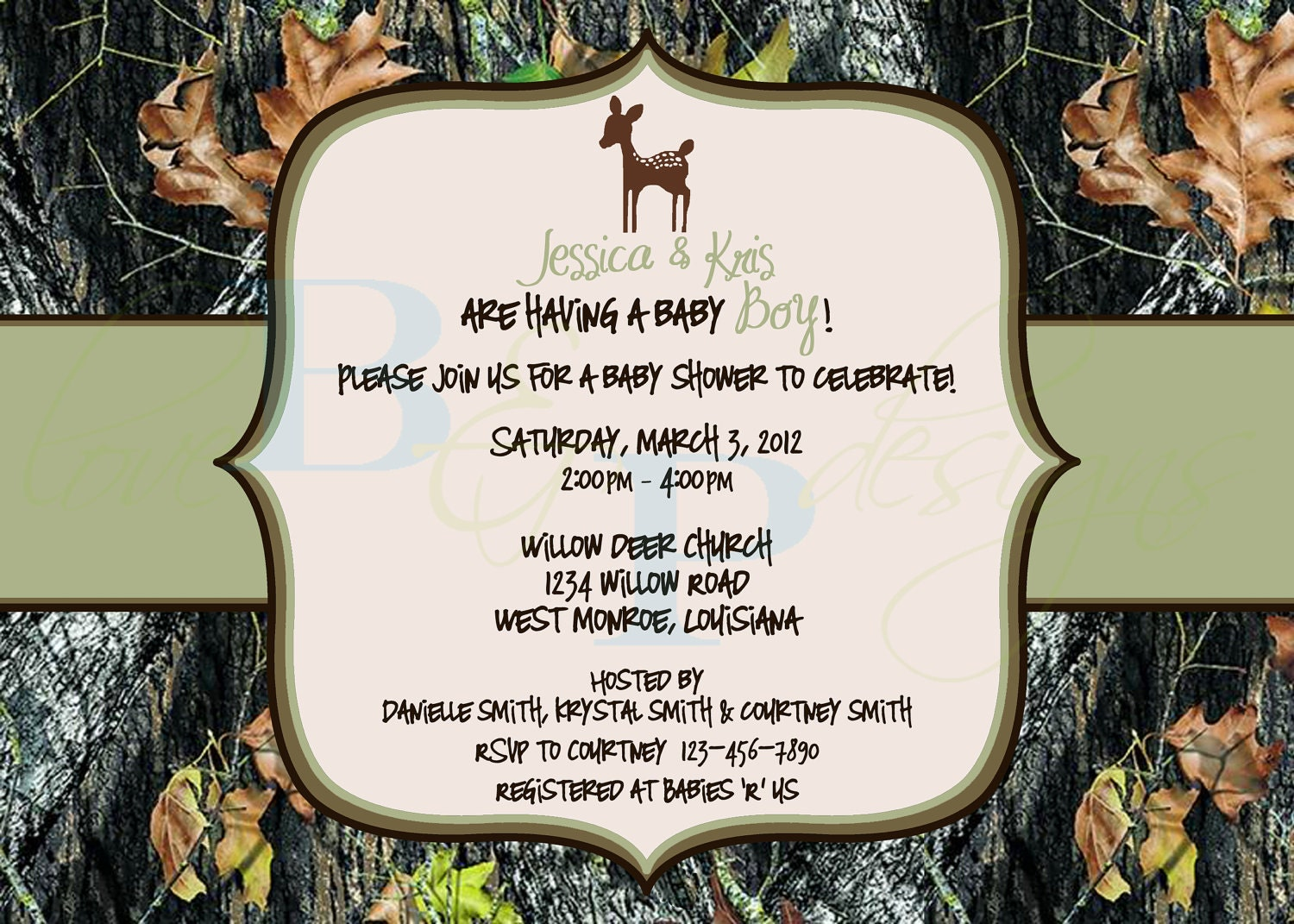 Mossy Oak Camo with Deer - Baby Shower Invitation