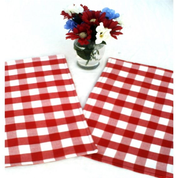 Two Cloth Placemats, Red Kitchen Mats, Picnic Placemats, Red & White Checks, Fabric Placemats Set of Two, Handmade Placemats, BeesHotPads - BeesHotPads