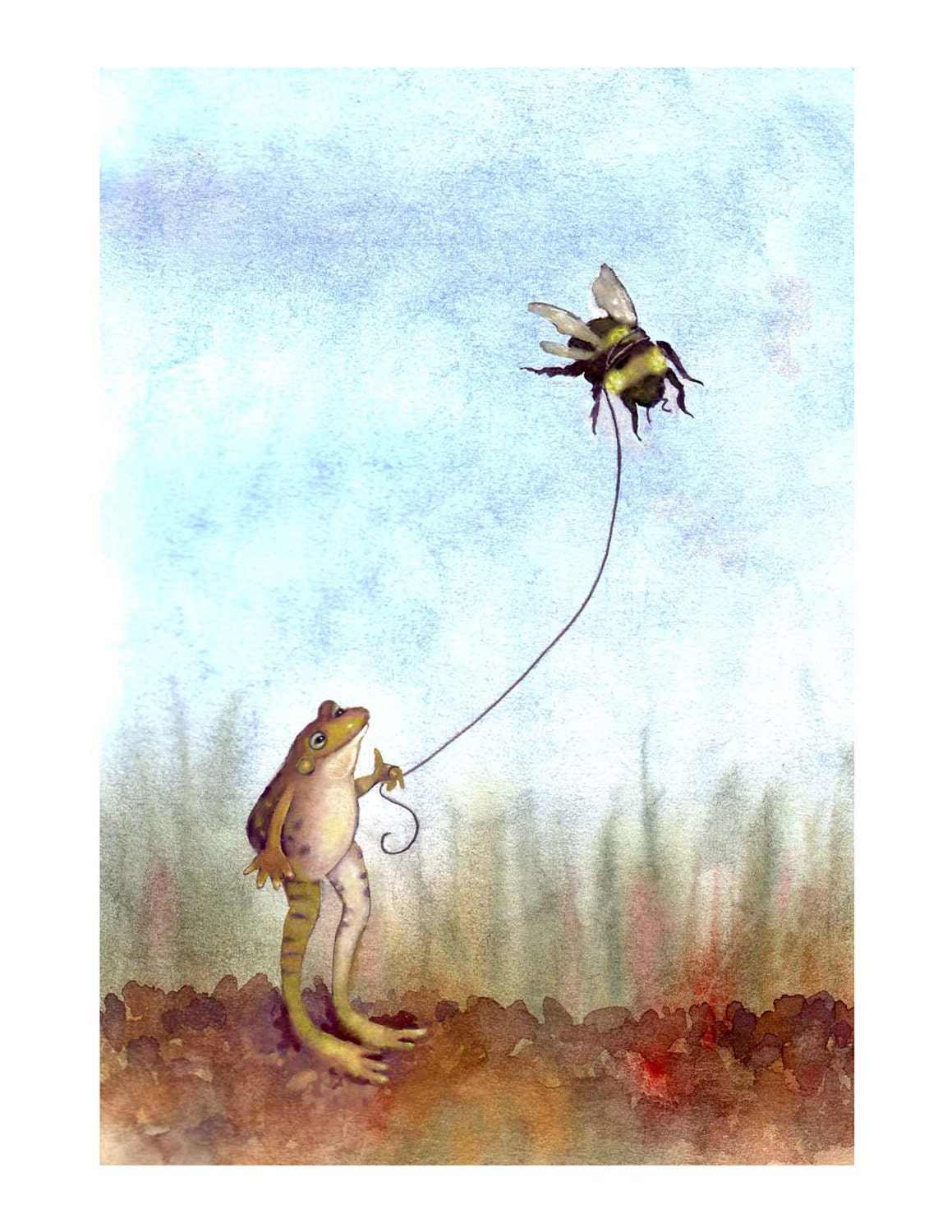 Frog & Bumblebee Print- Bee and Frog Art Watercolor Illustrationt- 'Go Fly A Bumblebee'